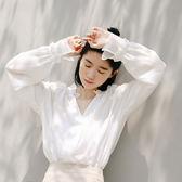 大韓訂製襯衫永不嫌多的純色上衣小寬松衣女裝東大門