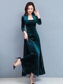 胖MM夜店洋裝 金絲絨連身裙女2021年新款高端長袖氣質大碼女裝顯瘦高腰長裙子 3C數位百貨