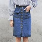 牛仔裙 牛仔裙一步裙韓版百搭中長款包臀裙學生牛仔半身裙子 莎拉嘿幼