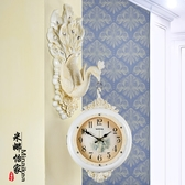 歐式掛鐘雙面錶鐘客廳時尚鐘錶創意個性孔雀裝飾藝術家用靜音時鐘 年底清倉8折