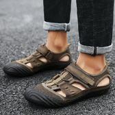 618好康鉅惠夏季男士百搭涼鞋手工真皮包頭涼鞋防滑軟底