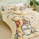 床包 / 雙人加大【維尼小熊-蜂蜜小事(黃色)】含兩件枕套 高密度磨毛 戀家小舖台灣製