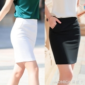 大尺碼 職業西裝裙包臀裙短裙工裝裙半身裙女 修身女夏季開叉裙子 S-5XL 黑/白色 2色 莫妮卡小屋