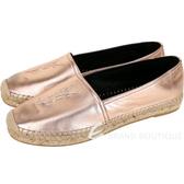 YSL Saint Laurent 小羊皮革草編平底鞋(玫瑰金) 1840582-C3