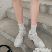 網紅粗跟鞋學院風瑪麗珍單鞋夏新款ins復古英倫厚底小皮鞋女 雙十二全館免運
