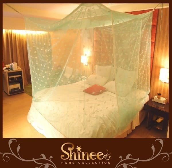 SHINEE 10色《100%台灣製高密度雙人床+嬰兒床蚊帳》-6X9X6尺-開一門--床旁邊放嬰兒床適合(送4條綁繩)