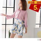 《AB6163》柔和色調百褶袖造型雪紡襯衫 OrangeBear