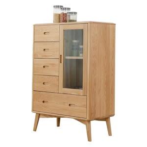 原木日式明治白橡木實木玻璃門五抽置物櫃w0982