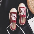 帆布鞋 流行鞋子女年秋季百搭ulzzang紅色帆布鞋 小眾低幫板鞋女 唯伊時尚