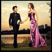 (45 Design)       7天到貨 紫色性感深V吊帶新娘結婚敬酒服晚裝禮服長款 最新款奢華緞