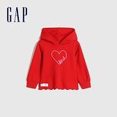 Gap女幼童 碳素軟磨系列 棉質休閒上衣 656551-紅色