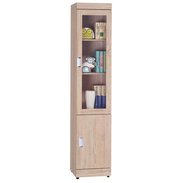 【森可家居】弗利橡木單門書櫃 8SB247-2 細長窄型 玻璃書櫥 收納 木紋質感 無印風 MIT台灣製造