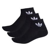 ADIDAS ORIGINALS 黑底 LOGO (三入) 襪子 中筒襪 (布魯克林) FM0643