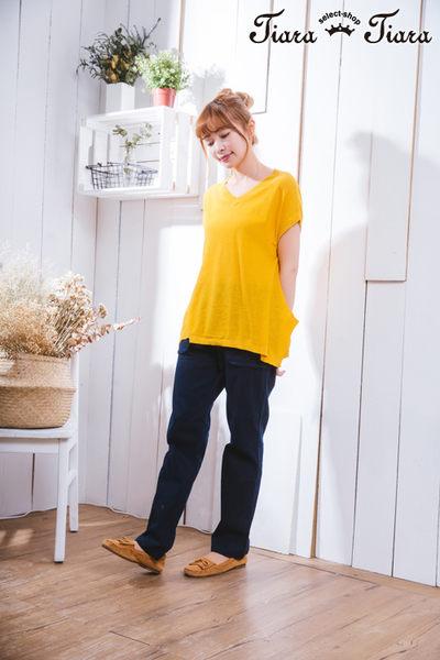 【Tiara Tiara】激安 V領傘下擺縮口短袖上衣(藍/黃)