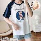 配色設計可愛熊圖案孕婦哺乳【側掀式】上衣 兩色【CWH503608】孕味十足 孕婦裝