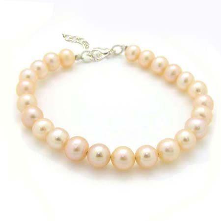 天然粉紅色珍珠純銀手環