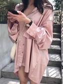 春裝新款韓版港味chic早秋上衣慵懶寬鬆長袖網紅襯衣女社會潮 雅楓居