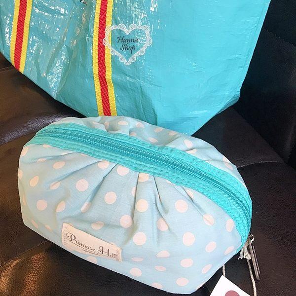 《花花創意会社》外流。小清新水藍圓點可愛化粧包【H6085】