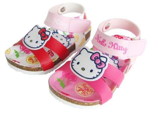 『雙惠鞋櫃』★Hello Kitty★夏日櫻桃水果籃 舒適涼爽 勃肯童涼鞋★ 台灣製造 ★ (816833) 紅、桃