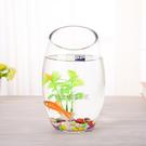 小型加厚創意橢圓形斜口透明玻璃水培植器皿...