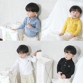 兒童長袖上衣 純棉POLO衫兒童純棉長袖T恤男童春裝新款中小童上衣 莎瓦迪卡