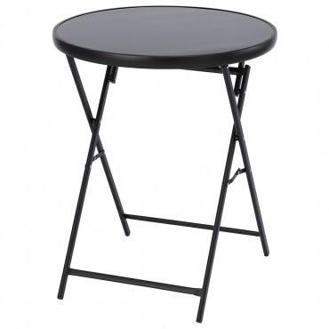 德瑞折合休閒圓桌 可折合 好收納 玻璃圓桌
