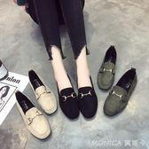社會女鞋子一腳蹬懶人原宿百搭學生平底單鞋豆豆鞋 美斯特精品