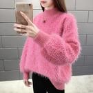 新品上市# 秋冬季新款半高領加厚網紅洋氣仙女毛衣女寬松燈籠袖外套女
