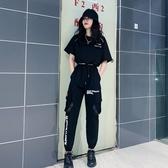原宿港風歐美ins女裝黑暗系工裝套裝女潮夏季學生酷女孩穿搭 帥氣 小城驛站