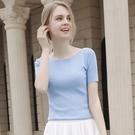 一字領上衣 小香風一字肩薄款夏季冰絲針織衫女短袖t恤修身淡紫色上衣-Ballet朵朵