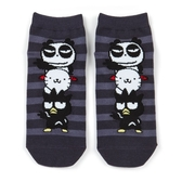 小禮堂 酷企鵝 成人短襪 隱形襪 及踝襪 船形襪 腳長23-25cm (黑白 橫紋) 4550337-52443