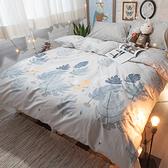 白兔遇見狐狸 S3單人床包雙人兩用被三件組 100%復古純棉 極日風 台灣製造 棉床本舖