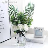 香皂花 小清新仿真玫瑰香肥皂永生假絹花客廳家居裝飾擺件透明玻璃花瓶花 繽紛創意家居