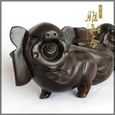 [超豐國際]T木雕豬 紅木雕刻 福豬送財擺件 木雕工藝品家居1入