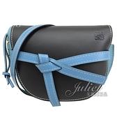 茱麗葉精品 【全新現貨 】LOEWE Gate 綁結拼接小牛皮斜背馬鞍包.黑/藍