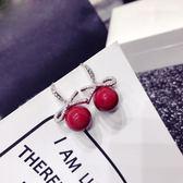 耳環耳飾正紅色珍珠耳釘耳鉤女正韓時尚氣質簡約耳環飾品首飾生日禮物【開學季88折促銷】