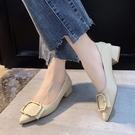 低跟鞋 尖頭單鞋女新款百搭方扣軟皮兩穿時裝女鞋時尚低跟工作鞋