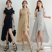 MIUSTAR 交疊V領挖肩斜裙襬露腿洋裝(共3色,M-L)【NJ1817】預購