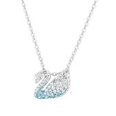 SWAROVSKI 施華洛世奇 Iconic Swan漸層藍水晶天鵝造型銀色項鍊 5512094