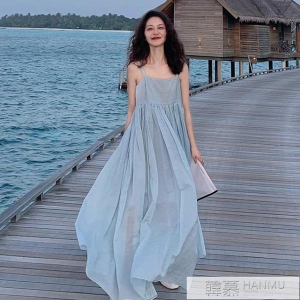 沙灘裙子海邊度假拍照純欲吊帶洋裝超仙雪紡大擺 萬聖節狂歡