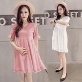 孕婦洋裝夏連身裙棉質中長款孕婦上衣連身裙 nm1758 【Pink中大尺碼】