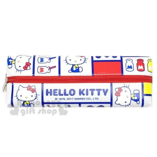 〔小禮堂〕 Hello Kitty 帆布拉鍊筆袋《白.紅藍黃.格線.色塊.側坐.牛奶》 4713791-96981