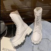 白色馬丁靴女英倫風 2021年新款秋冬季百搭中筒靴瘦瘦短靴女潮ins 喜迎新春