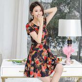 中老年洋裝棉綢連身裙夏季短袖中長款寬鬆媽媽女裝大碼長裙40-50歲LZ2732【甜心小妮童裝】