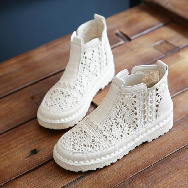 涼靴女網面鏤空透氣包頭一腳蹬平底鞋馬丁靴森系復古文藝手工涼鞋 蘇菲小店