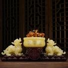 開光玉石貔貅擺件一對風水招財貔恘聚財皮丘黃玉聚寶盆元寶工藝品 【免運】