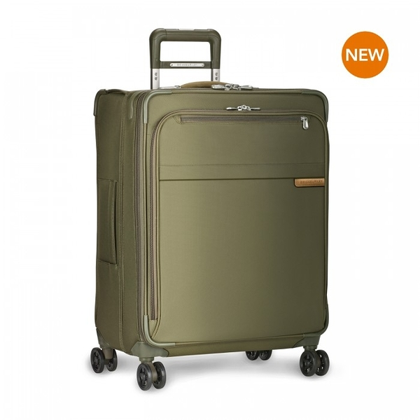 【終身保固 Briggs & Riley 超輕量系列BRU125CXSP-7】Baseline 25吋窄版可擴充四輪行李箱(卡其)