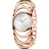 Calvin Klein CK Ladies 設計師手環錶-銀x玫瑰金/29mm K4G23626