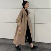 秋季2019新款流行時尚過膝風衣女中長款港風外套小個子寬鬆大衣潮