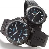 ORIS 豪利時 Aquis 時間之海中型潛水機械對錶-鍍黑x藍/43+36mm 0173376534725-0742634BEB+0173376524725-0741834B